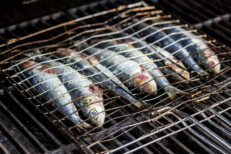 Sardines in a fish grilling being cooked in a bbq. Sardines in a fish grilling basket being cooked in a bbq, with salt and olive oil royalty free stock photography