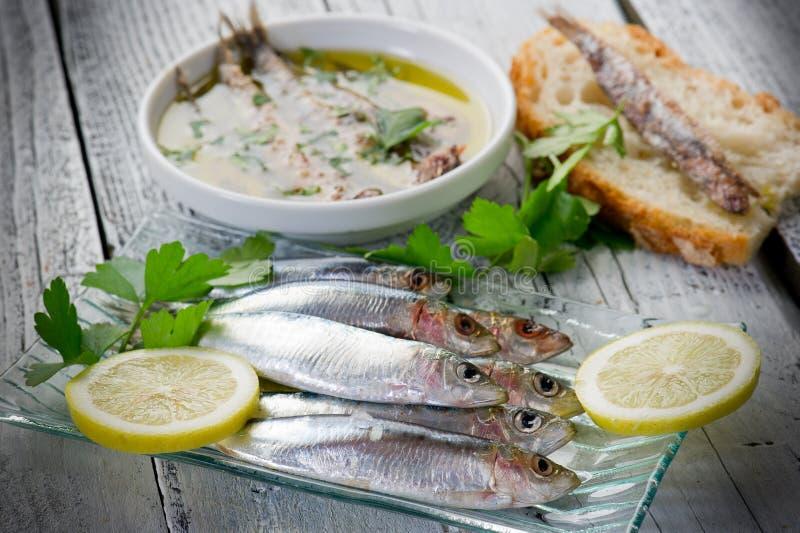 Sardines fraîches avec le citron photos libres de droits