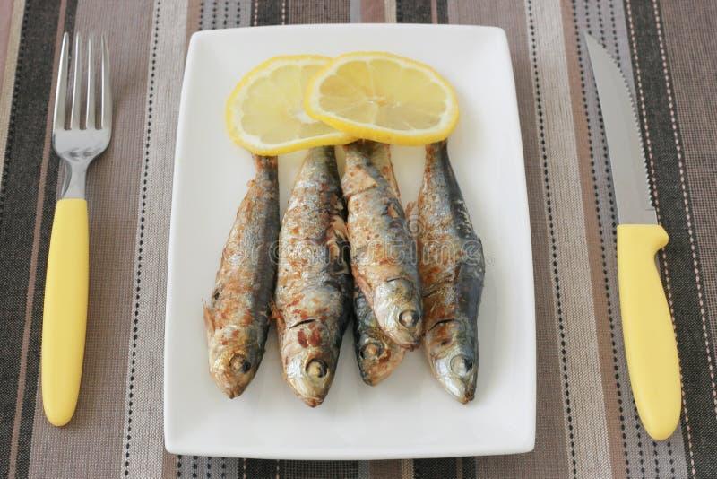 Sardines frites avec le citron photographie stock libre de droits