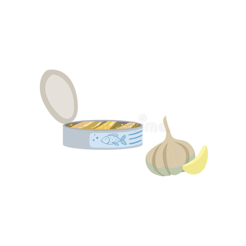 Sardines, Garlic And Lemon Bright Color Isolated Illustration stock illustration
