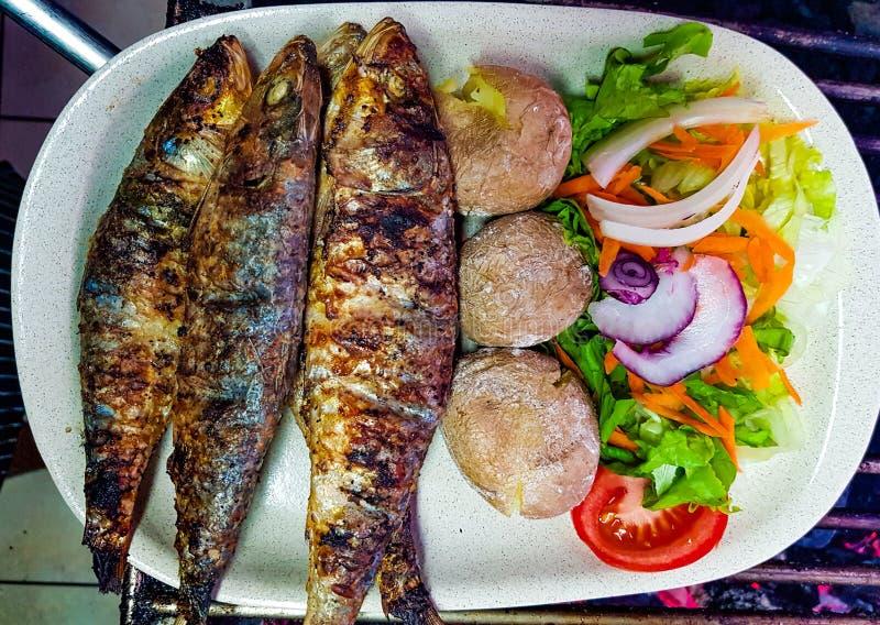 sardines grillées avec les pommes de terre et la salade bouillies dans le plat blanc prêt à servi sardines grillées grillées dans image stock