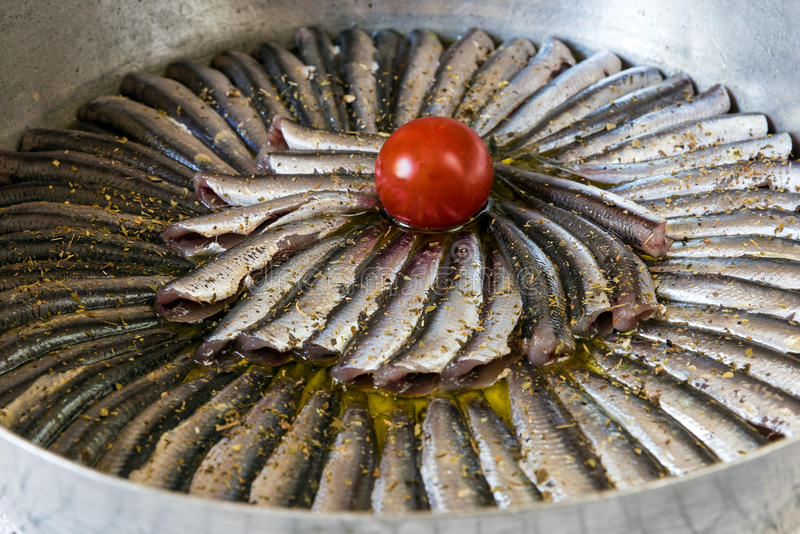 Sardines. In pan, ready for cooking stock images
