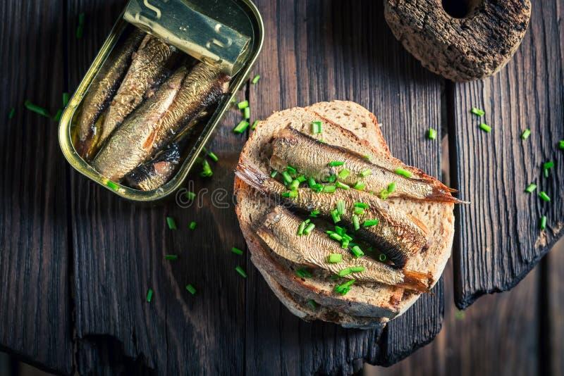 Sardines saines de wirh de sandwich avec sur du pain entier image stock