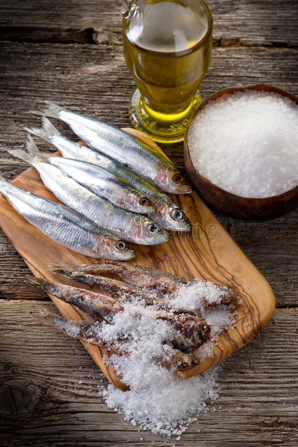 Sardines with salt royalty free stock images