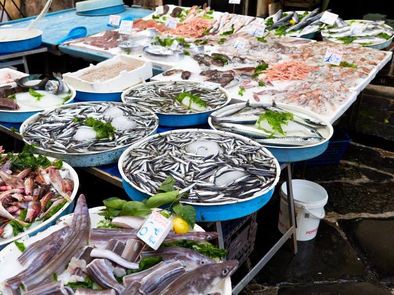 Sardines and Shrimps being sold at the fish market Porta Nolana stock photo