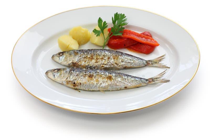 Sardinhas assadas, charcoal grilled sardines. Portuguese food stock photos