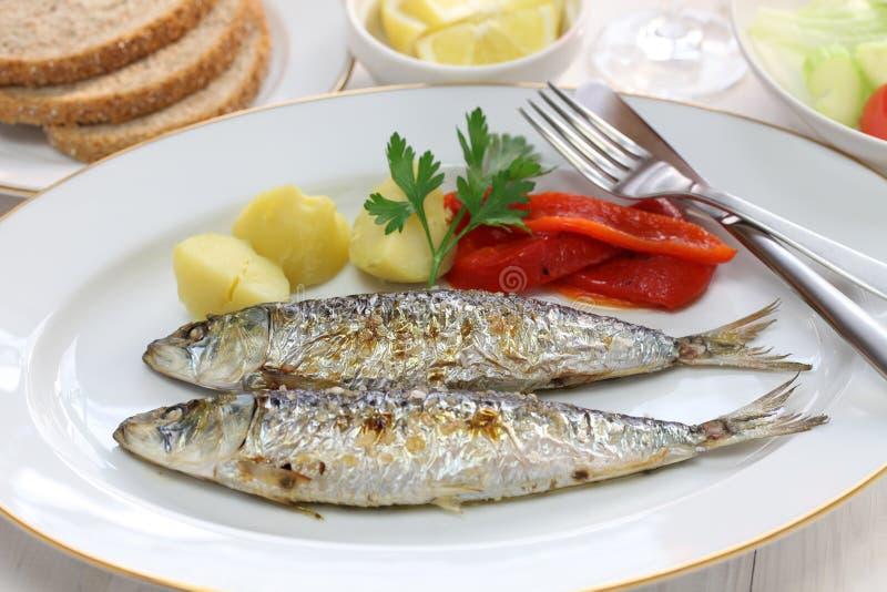 Sardinhas assadas, charcoal grilled sardines. Portuguese food stock image
