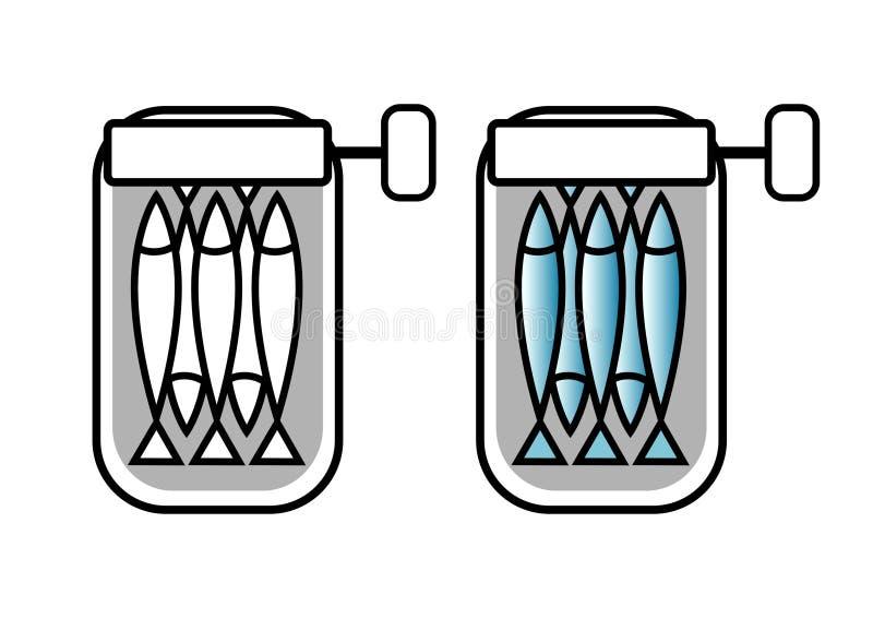 Sardinhas enlatadas ilustração stock