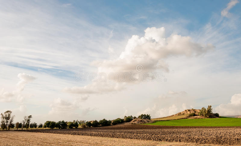 Sardinia, agricultural land on sky background royalty free stock photography