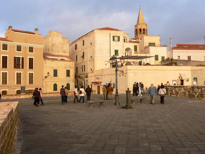 Sardinia. Alghero - Alguer. Evening walk on the ramparts of the ancient catalan town royalty free stock photography