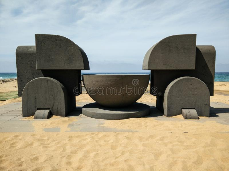 Sardinia. Art and Nature. The monumental sculpture Ara del Sole Altar of the Sun, a modernist work realized in cement by the famous Italian artist Pietro royalty free stock photography