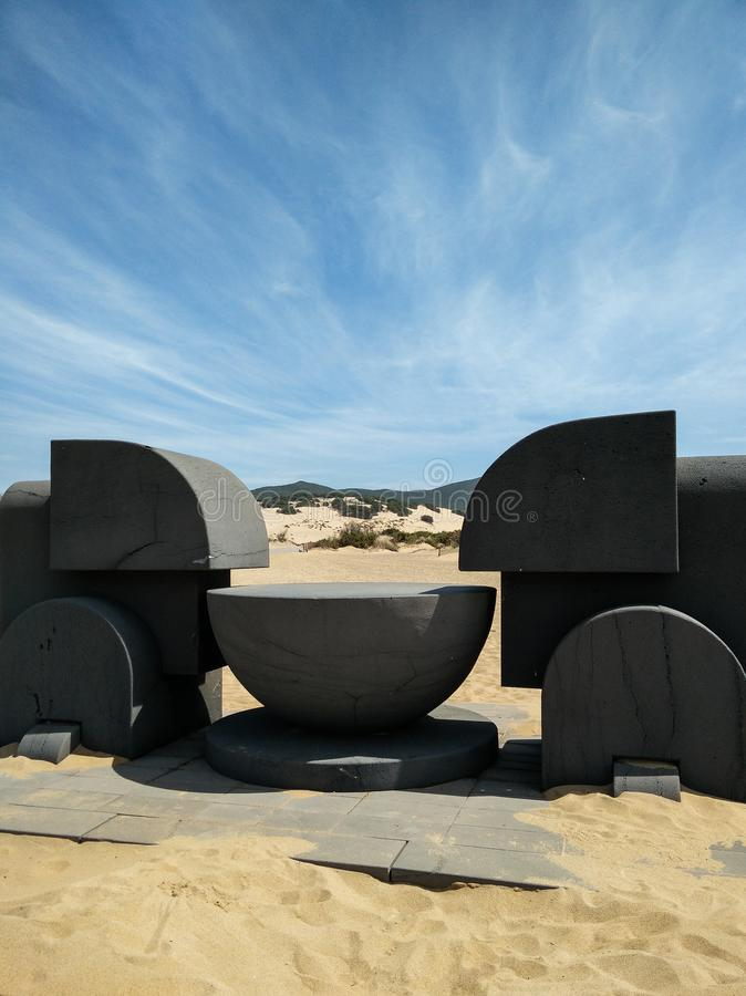 Sardinia. Art and Nature. The monumental sculpture Ara del Sole (Altar of the Sun), a modernist work realized in cement by the famous Italian artist Pietro stock photography