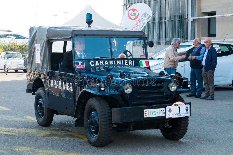 Coppa gentlemen sardi, cars exibition, Fiat AR59 Campagnola Carabinieri. 05-13-2018, Sardinia, Cagliari harbor, Coppa gentlemen sardi, cars exibition, Fiat AR59 stock photo