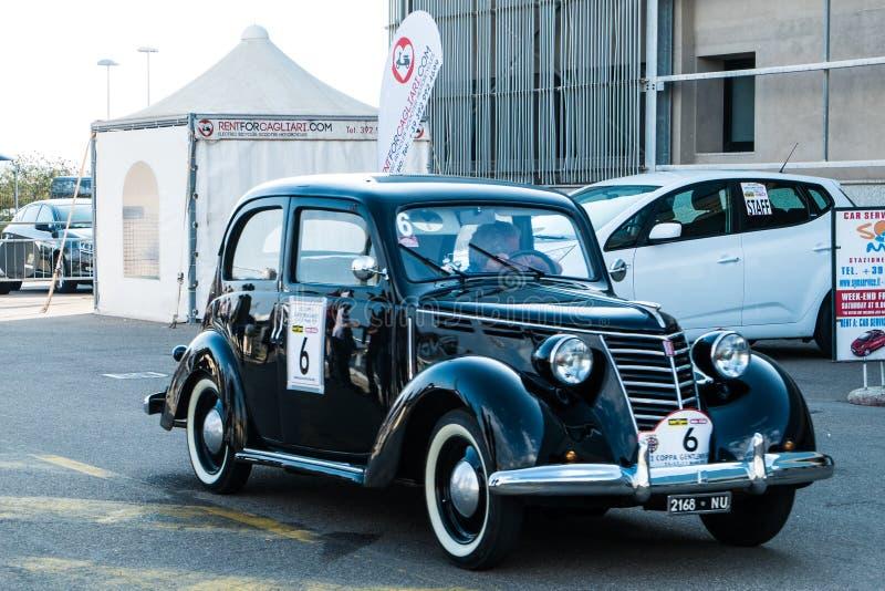 Coppa gentlemen sardi, cars exibition, Fiat 1100 E Musone. 05-13-2018, Sardinia, Cagliari harbor, Coppa gentlemen sardi, cars exibition, Fiat 1100 E Musone stock photography