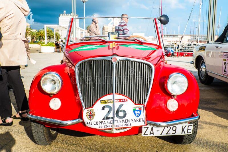 Coppa gentlemen sardi, cars exibition, Fiat 500 Vignale. 05-13-2018, Sardinia, Cagliari harbor, Coppa gentlemen sardi, cars exibition, Fiat 500 Vignale stock photography