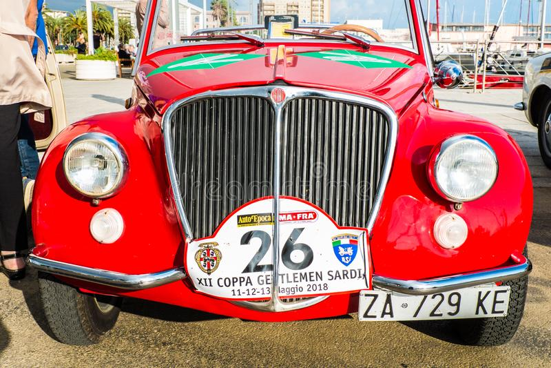 Coppa gentlemen sardi, cars exibition, Fiat 500 Vignale. 05-13-2018, Sardinia, Cagliari harbor, Coppa gentlemen sardi, cars exibition, Fiat 500 Vignale stock image