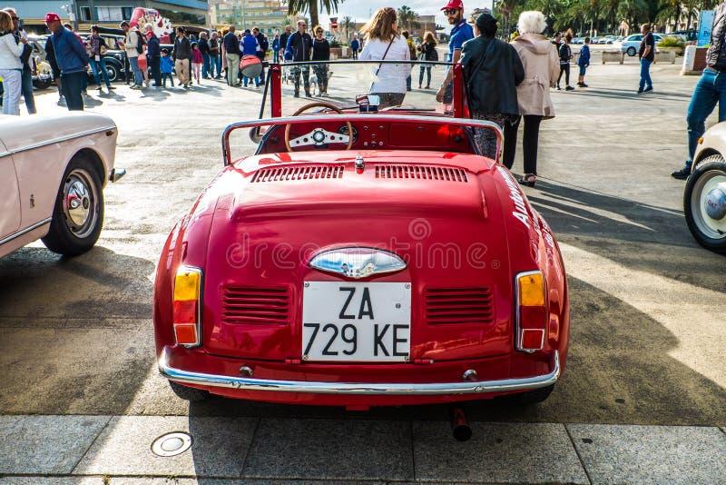Coppa gentlemen sardi, cars exibition, Fiat 500 Vignale. 05-13-2018, Sardinia, Cagliari harbor, Coppa gentlemen sardi, cars exibition, Fiat 500 Vignale royalty free stock photo