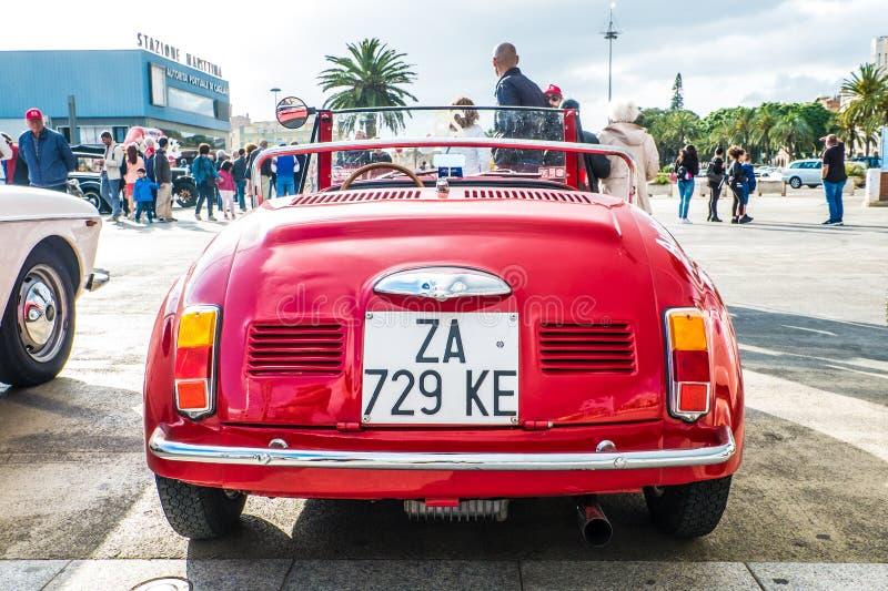Coppa gentlemen sardi, cars exibition, Fiat 500 Vignale. 05-13-2018, Sardinia, Cagliari harbor, Coppa gentlemen sardi, cars exibition, Fiat 500 Vignale stock photos