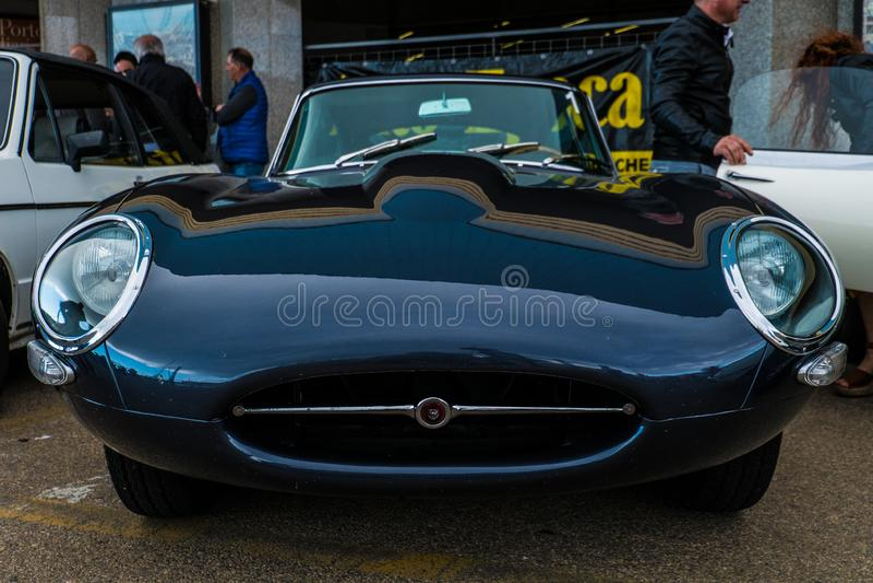 Coppa gentlemen sardi, cars exibition, Jaguar E-Type. 05-13-2018, Sardinia, Cagliari harbor, Coppa gentlemen sardi, cars exibition, Jaguar E-Type royalty free stock image