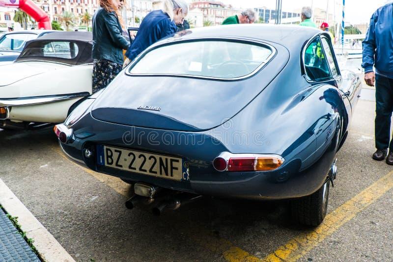 Coppa gentlemen sardi, cars exibition, Jaguar E-Type. 05-13-2018, Sardinia, Cagliari harbor, Coppa gentlemen sardi, cars exibition, Jaguar E-Type royalty free stock photos