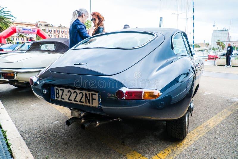 Coppa gentlemen sardi, cars exibition, Jaguar E-Type. 05-13-2018, Sardinia, Cagliari harbor, Coppa gentlemen sardi, cars exibition, Jaguar E-Type stock photo