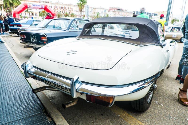 Coppa gentlemen sardi, cars exibition, Jaguar E-Type. 05-13-2018, Sardinia, Cagliari harbor, Coppa gentlemen sardi, cars exibition, Jaguar E-Type stock photos