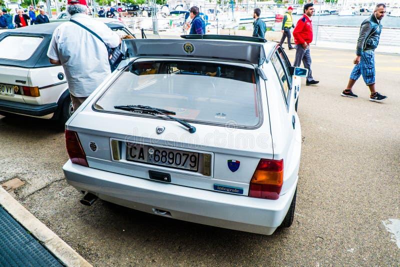 Coppa gentlemen sardi, cars exibition, Lancia Delta HF Integrale. 05-13-2018, Sardinia, Cagliari harbor, Coppa gentlemen sardi, cars exibition, Lancia Delta HF royalty free stock photo