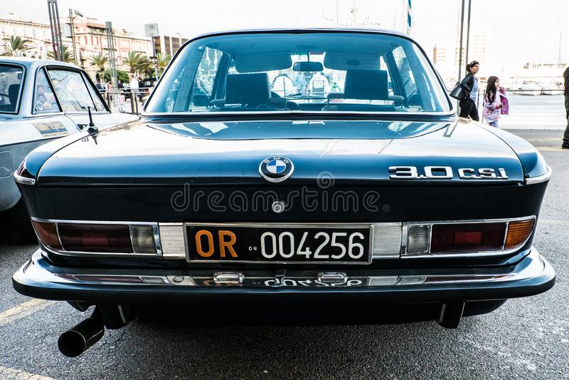 Coppa gentlemen sardi, cars exibition, BMW 3.0 CSI. 05-13-2018, Sardinia in Cagliari harbor, Coppa gentlemen sardi is a cars exibition, BMW 3.0 CSI royalty free stock image