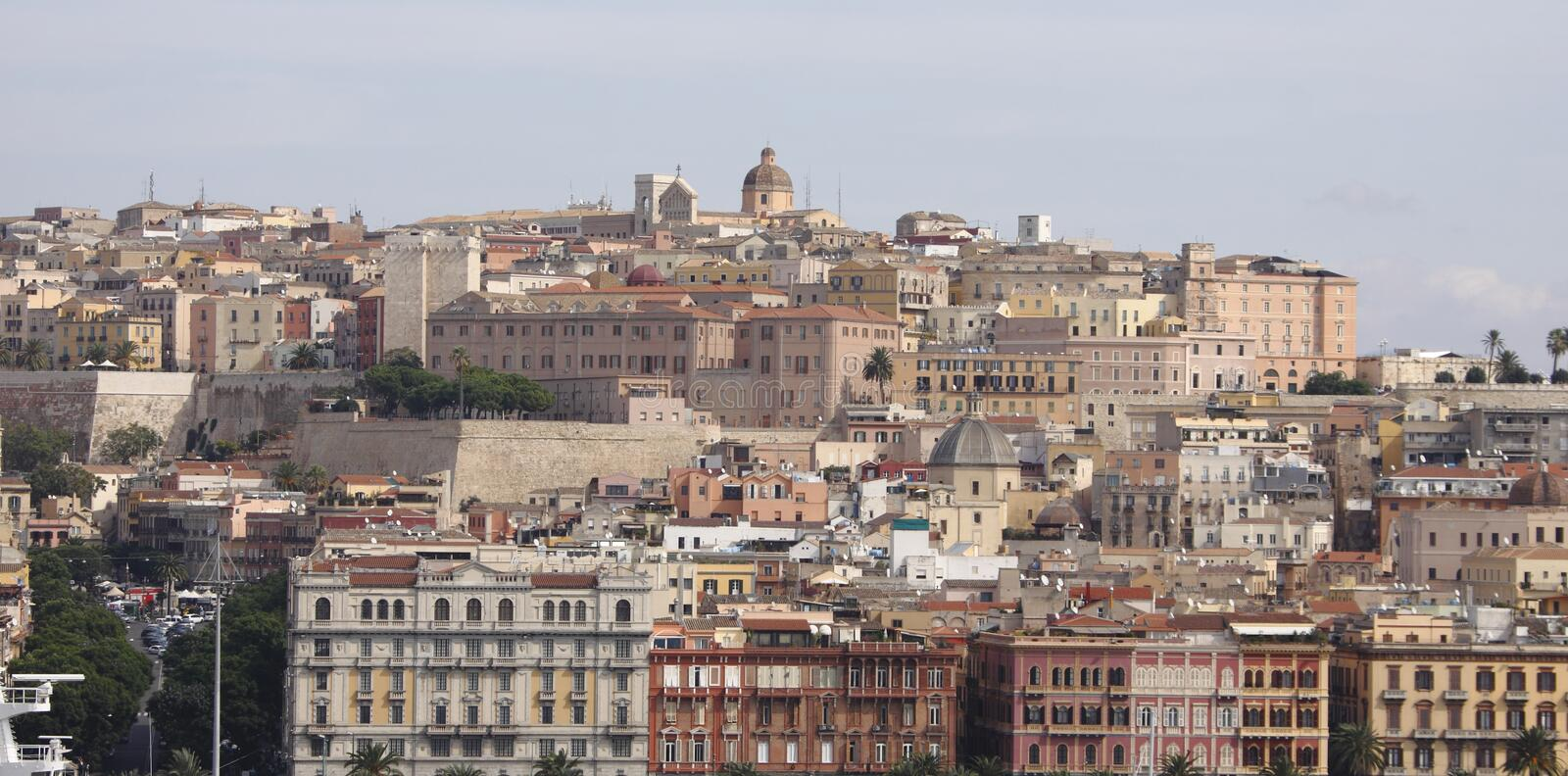 Sardinia, Cagliari, Italy. A busy built up view of Cagliari, Sardinia, Italy stock photography