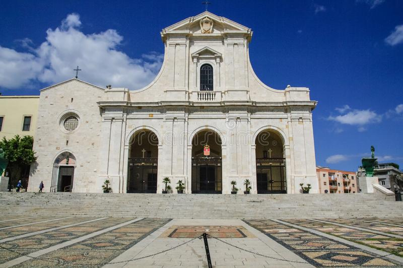 Sardinia. Cagliari.. Sanctuary of Nostra Signora di Bonaria. The ancient Gothic Catalan Church and the neoclassical Basilica. The heart of the sanctuary is the stock photos