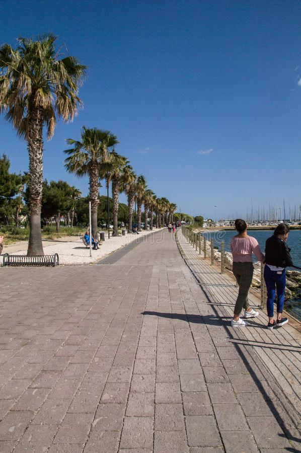 Sardinia. Cagliari. View of the long promenade at seaside stock images