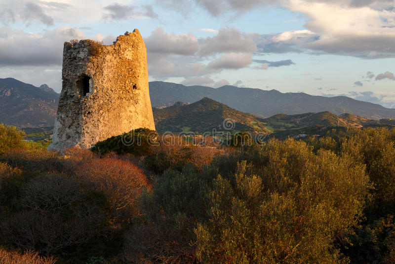 Sardinia, Italy - Ruins of watch tower. Sardinia, Island october 5, 2016: Ruins of old watch tower at sunrise in Sardinia Island stock image
