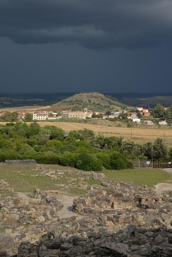 Sardinia, Italy. Rural landscape by dramatic weather stock photography