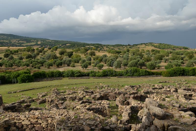 Sardinia, Italy. Rural landscape by dramatic weather stock photos