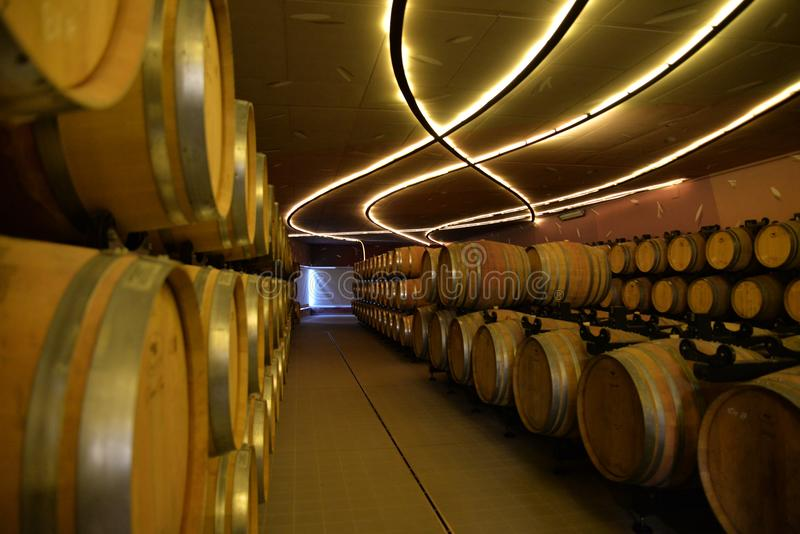 Sardinia wine cellar and barrels, interior view stock photos