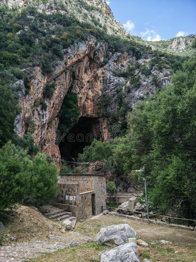 Sardinia. Natural monuments. Caves of San Giovanni, near Domusnovas in Iglesiente region. Southern entrance stock photos