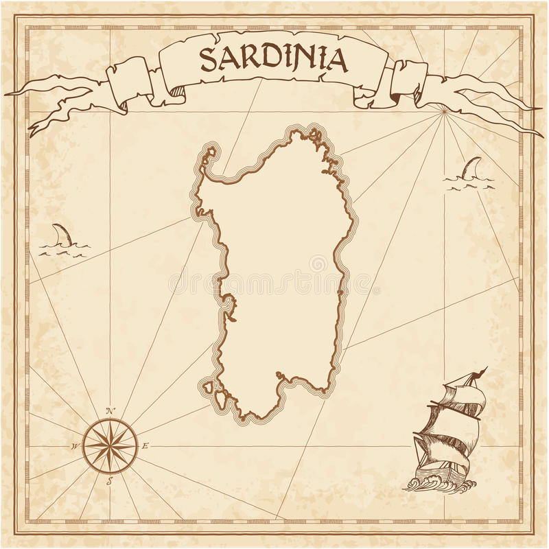 Sardinia old treasure map. Sepia engraved template of pirate island parchment. Stylized manuscript on vintage paper vector illustration