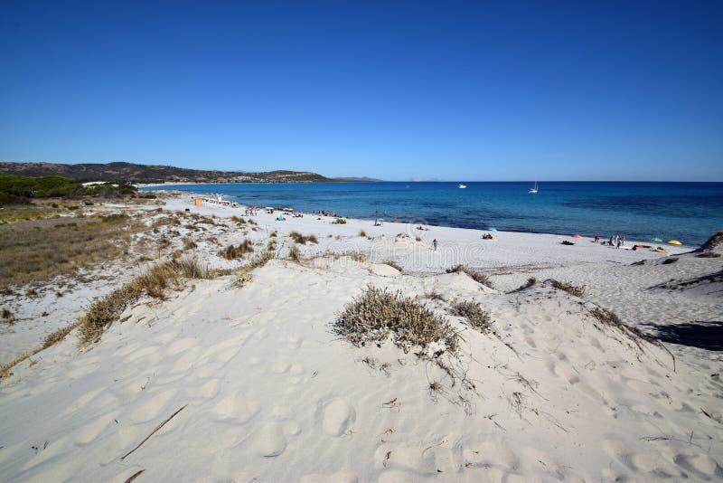 Sardinia plaża Capo Comino w terytorium Siniscola, zdjęcie stock
