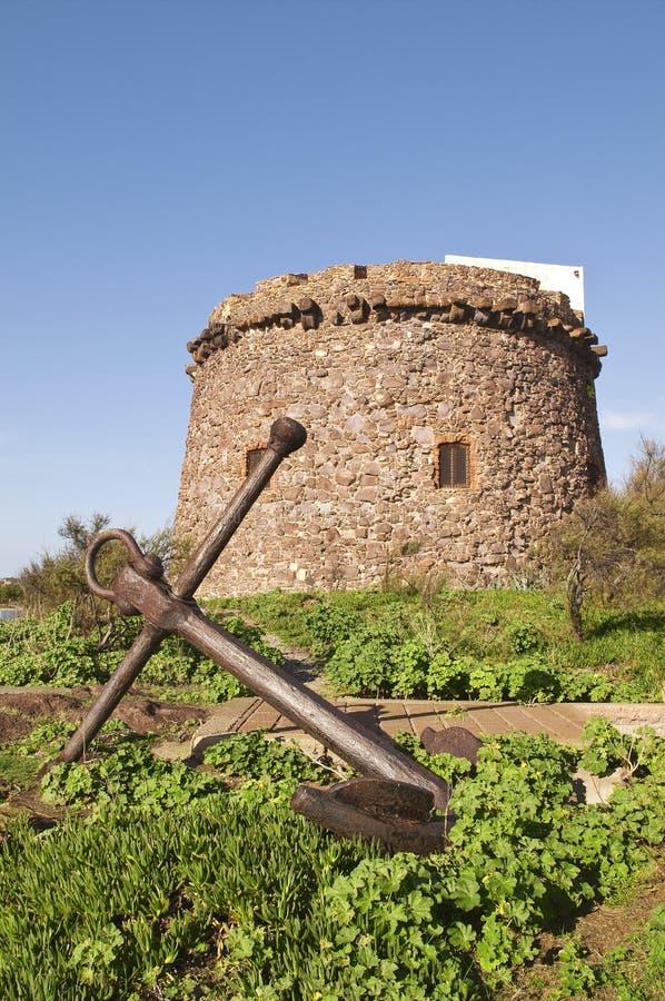Sardinia. Portoscuso. Spanish Tower stock photo