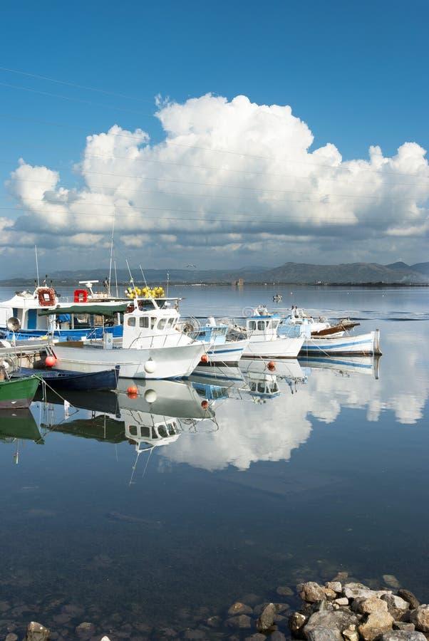 Sardinia.Reflections in a marina stock image
