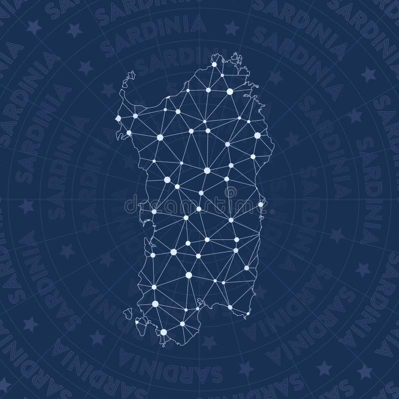 Sardinia sieć, gwiazdozbiór wyspy stylowa mapa ilustracja wektor