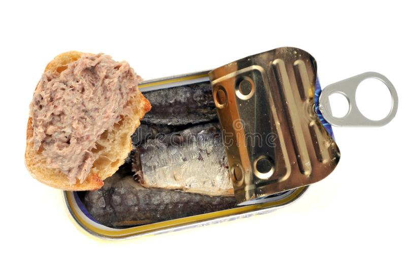 Sardinrillettes och på burk sardiner i olja fotografering för bildbyråer