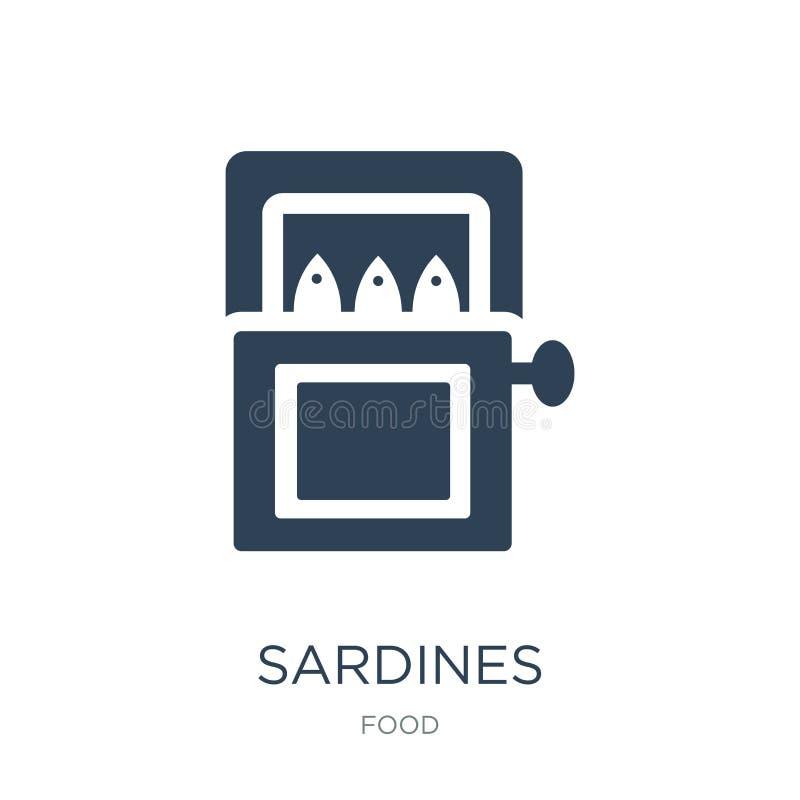 sardinsymbol i moderiktig designstil sardinsymbol som isoleras på vit bakgrund enkel och modern lägenhet för sardinvektorsymbol stock illustrationer