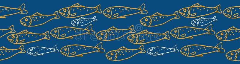 Sardynka t?um rybi bezszwowy wektor granicy wz?r piec na grillu ryby royalty ilustracja