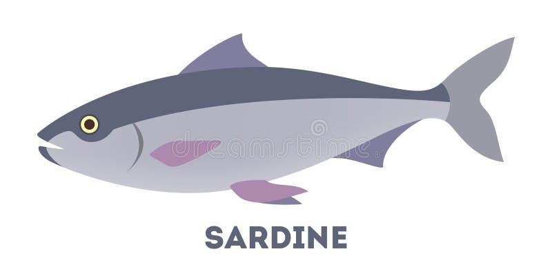 Sardynki ryba od morza lub oceanu ilustracja wektor