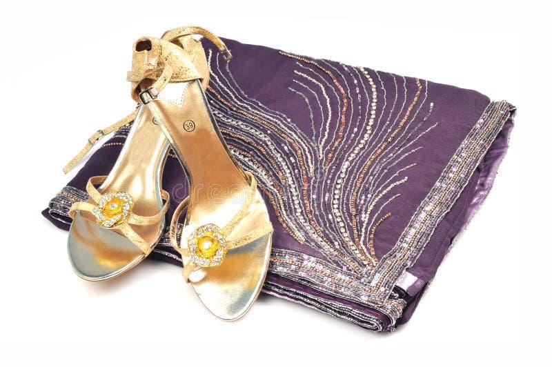Saree and footwear royalty free stock image