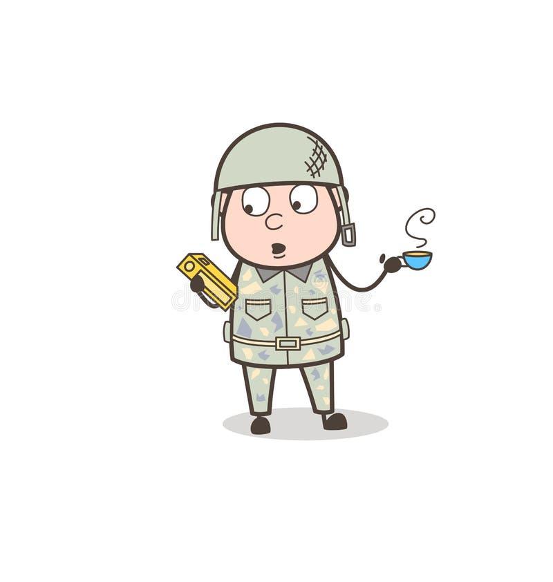 Sargento Holding de la historieta un libro y consumición de un ejemplo caliente del vector del té ilustración del vector