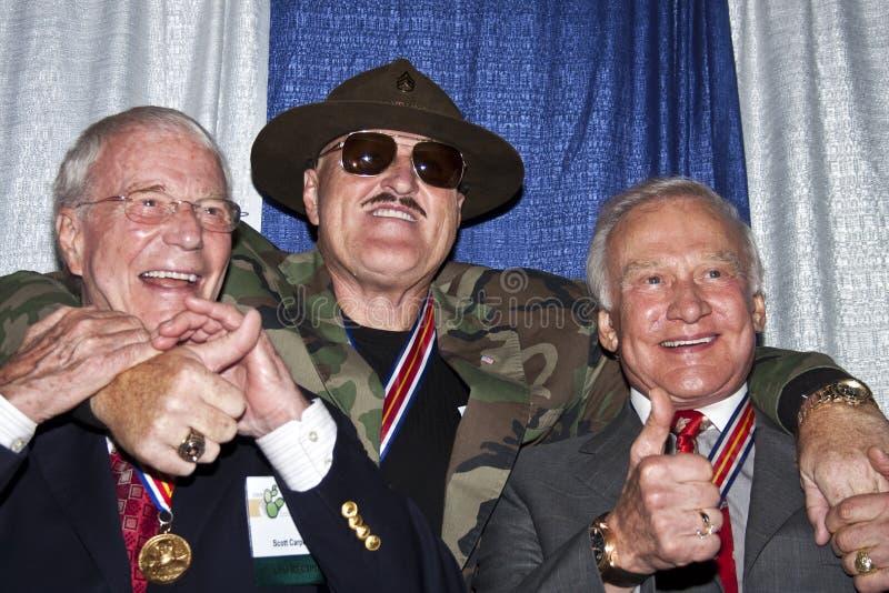 Sargento Slaughter y dos héroes americanos foto de archivo