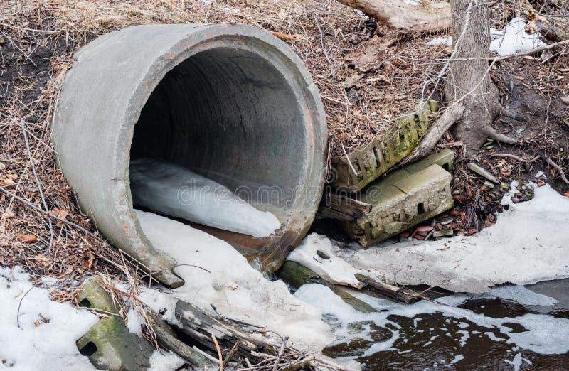 Sargeta concreta do esgoto que esvazia no inverno foto de stock royalty free
