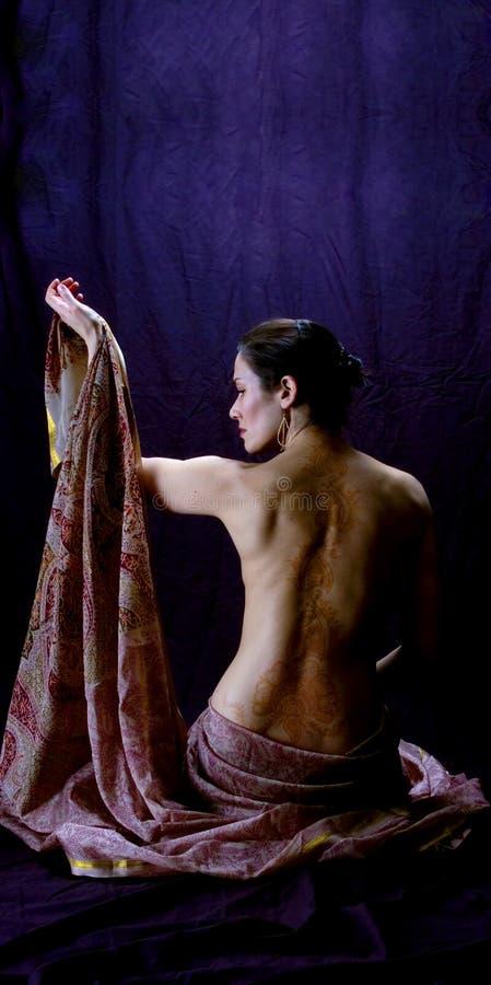 Sari en Henna stock afbeelding